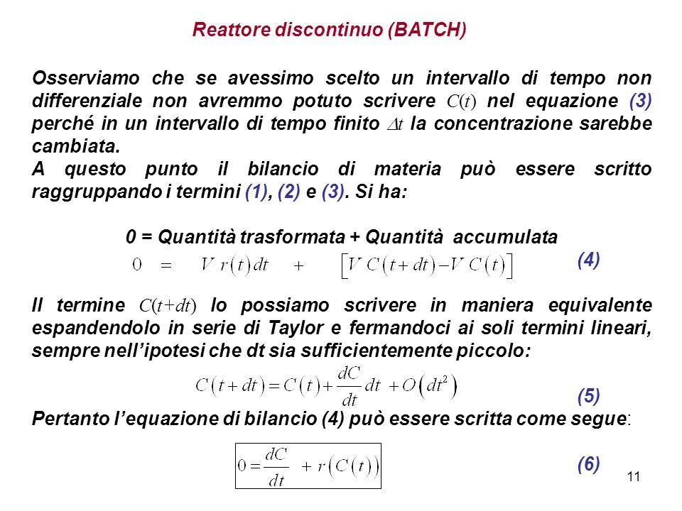 0 = Quantità trasformata + Quantità accumulata