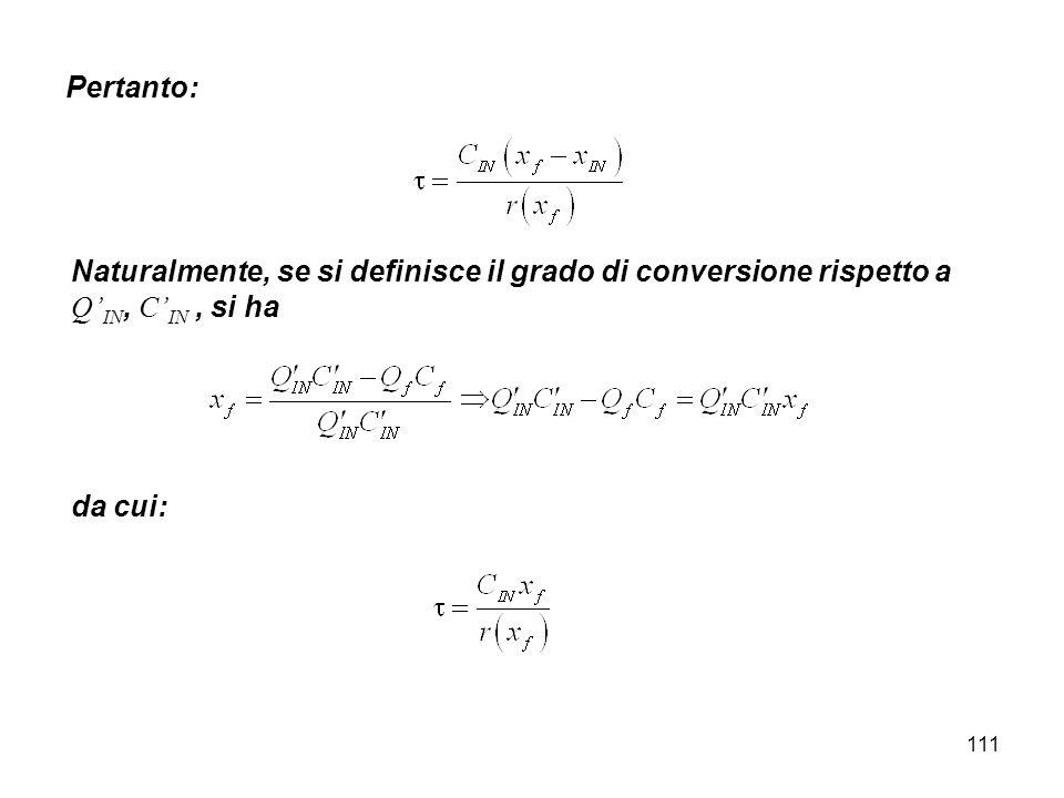 Pertanto: Naturalmente, se si definisce il grado di conversione rispetto a Q'IN, C'IN , si ha.