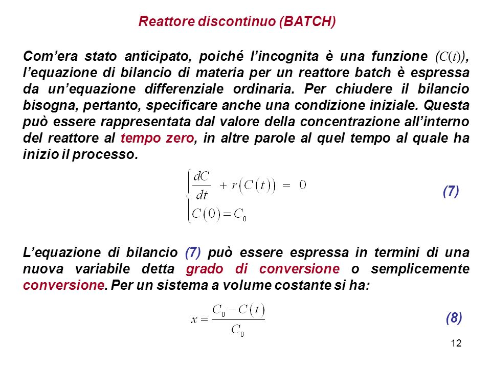Reattore discontinuo (BATCH)
