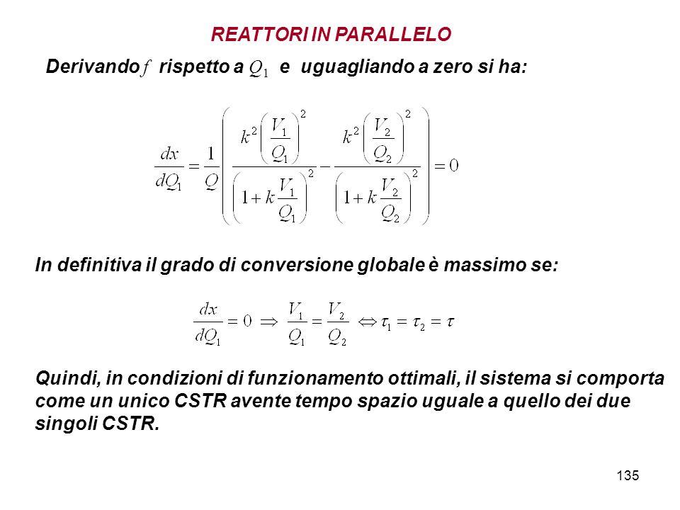 REATTORI IN PARALLELO Derivando f rispetto a Q1 e uguagliando a zero si ha: In definitiva il grado di conversione globale è massimo se: