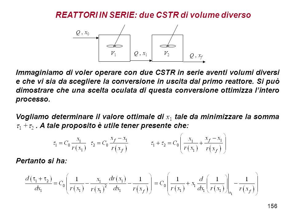 REATTORI IN SERIE: due CSTR di volume diverso