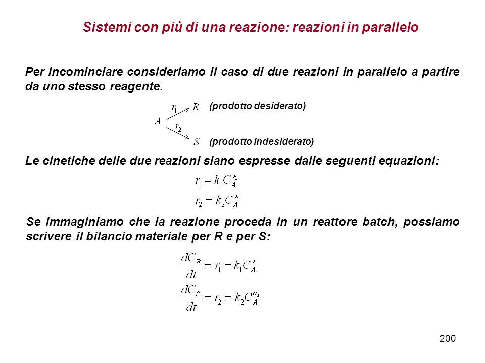 Sistemi con più di una reazione: reazioni in parallelo