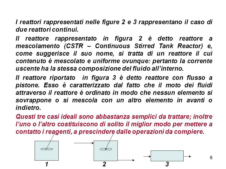 I reattori rappresentati nelle figure 2 e 3 rappresentano il caso di due reattori continui.