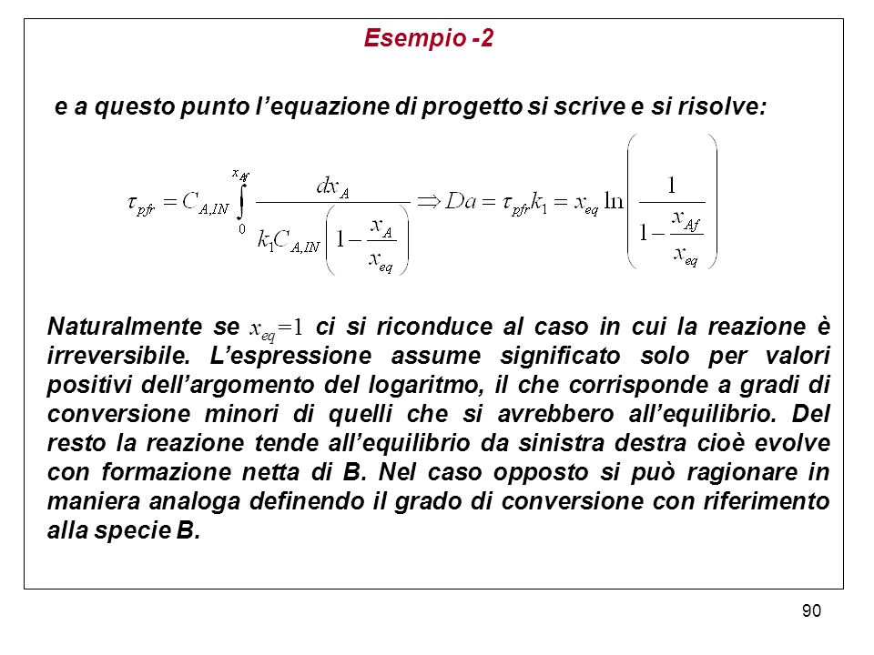 Esempio -2 e a questo punto l'equazione di progetto si scrive e si risolve: