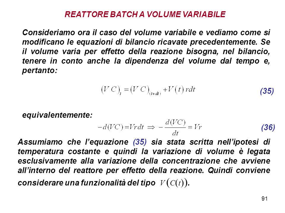 REATTORE BATCH A VOLUME VARIABILE