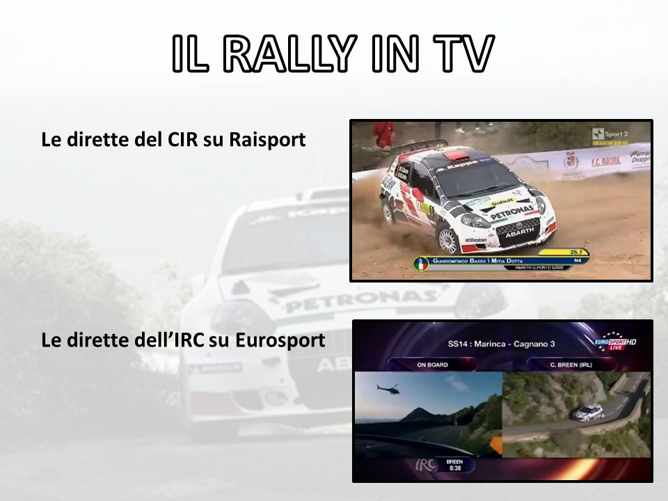 IL RALLY IN TV Le dirette del CIR su Raisport