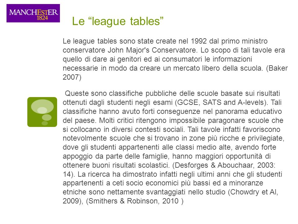 Le league tables