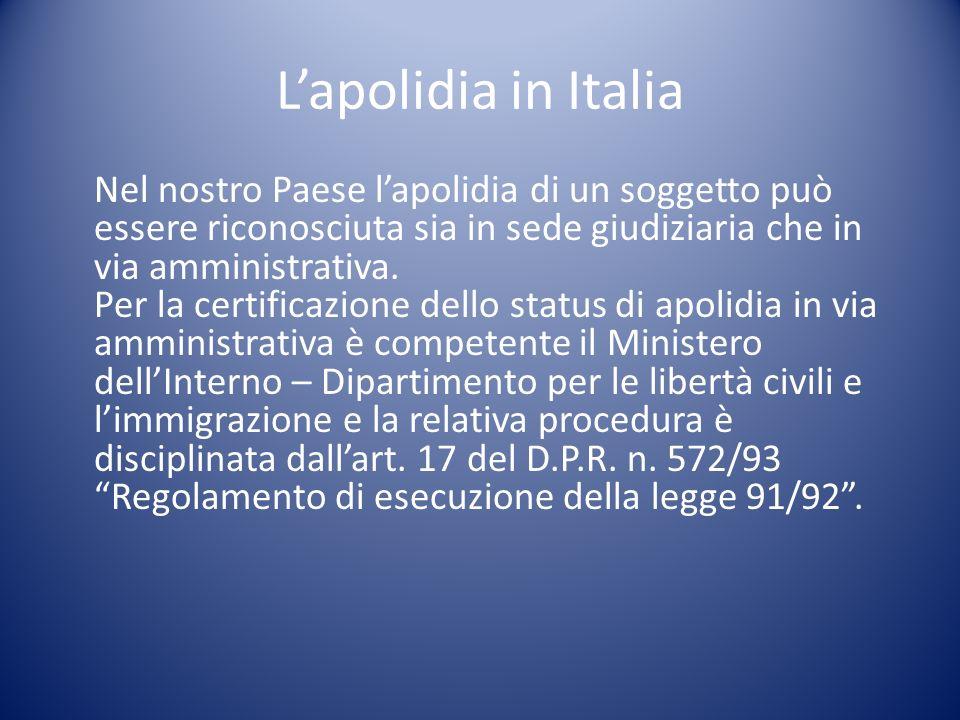 L'apolidia in Italia