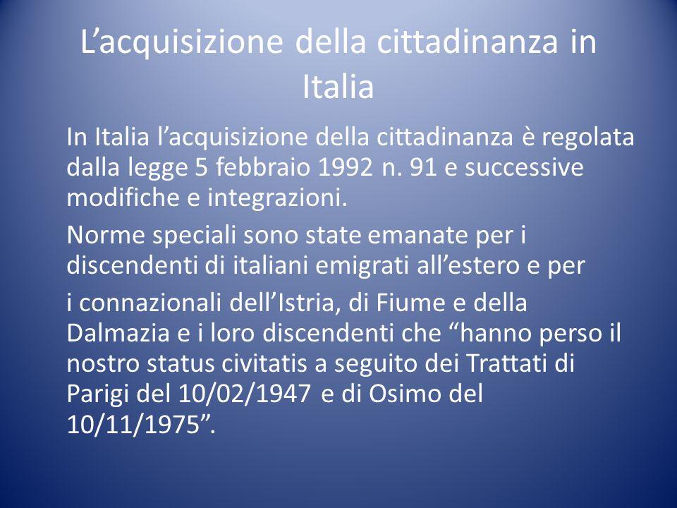 L'acquisizione della cittadinanza in Italia