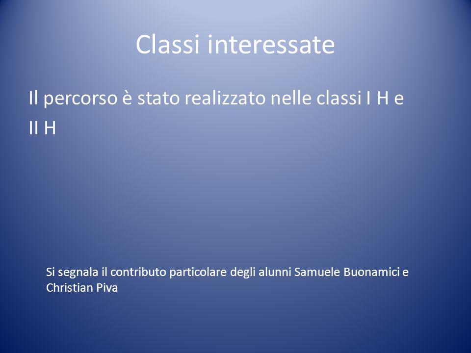 Classi interessate Il percorso è stato realizzato nelle classi I H e