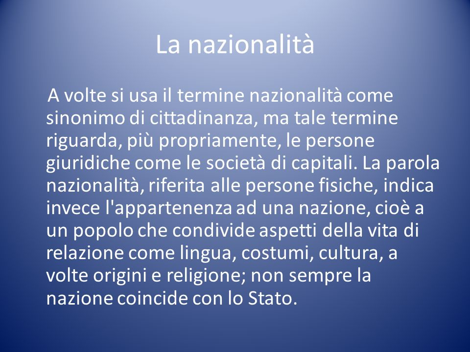 La nazionalità