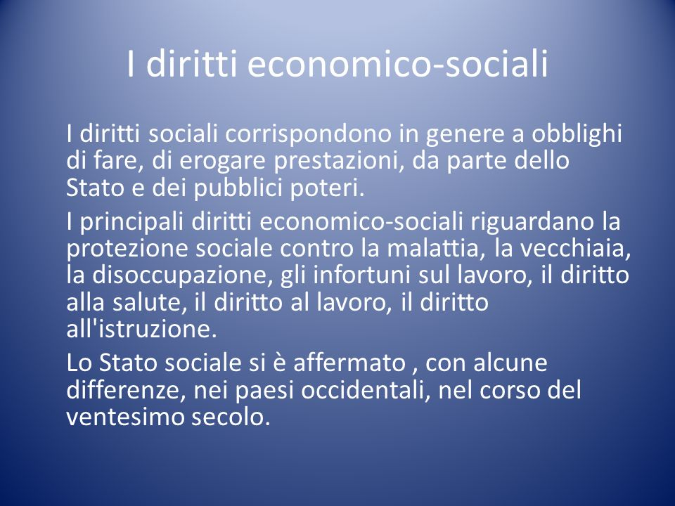 I diritti economico-sociali