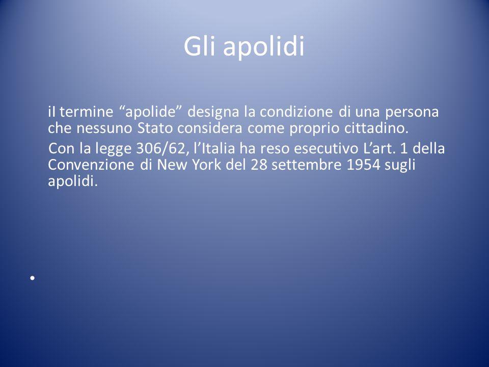 Gli apolidi iI termine apolide designa la condizione di una persona che nessuno Stato considera come proprio cittadino.