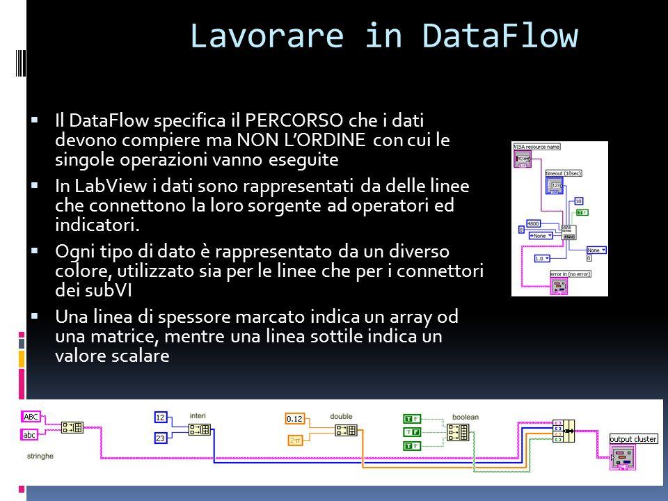 Lavorare in DataFlow Il DataFlow specifica il PERCORSO che i dati devono compiere ma NON L'ORDINE con cui le singole operazioni vanno eseguite.