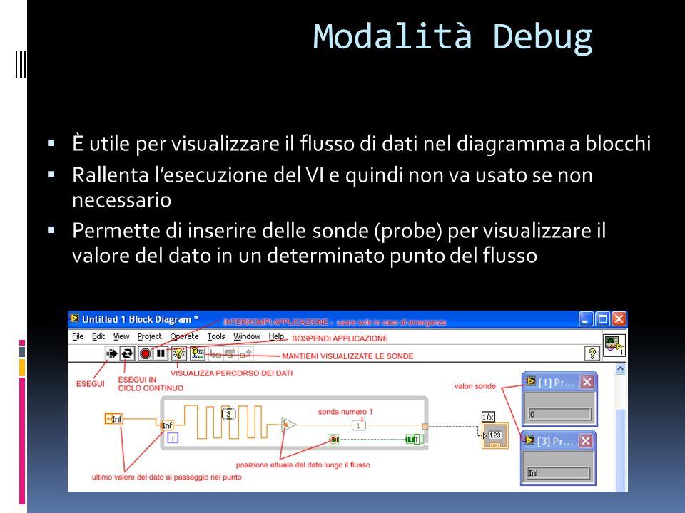 Modalità Debug È utile per visualizzare il flusso di dati nel diagramma a blocchi.