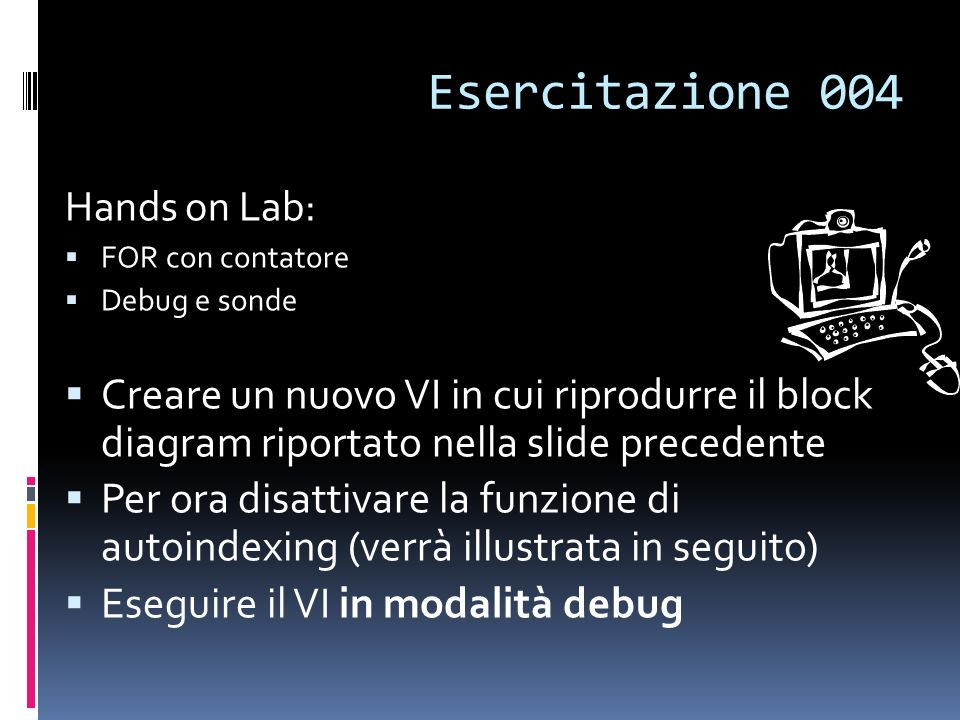 Esercitazione 004 Hands on Lab: FOR con contatore. Debug e sonde.