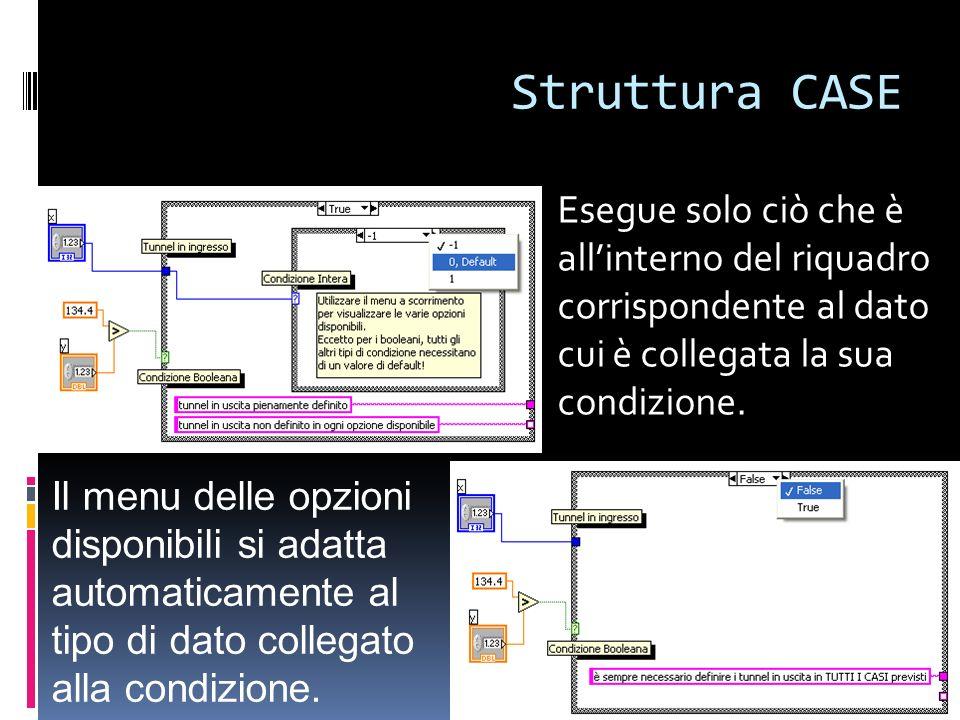 Struttura CASE Esegue solo ciò che è all'interno del riquadro corrispondente al dato cui è collegata la sua condizione.