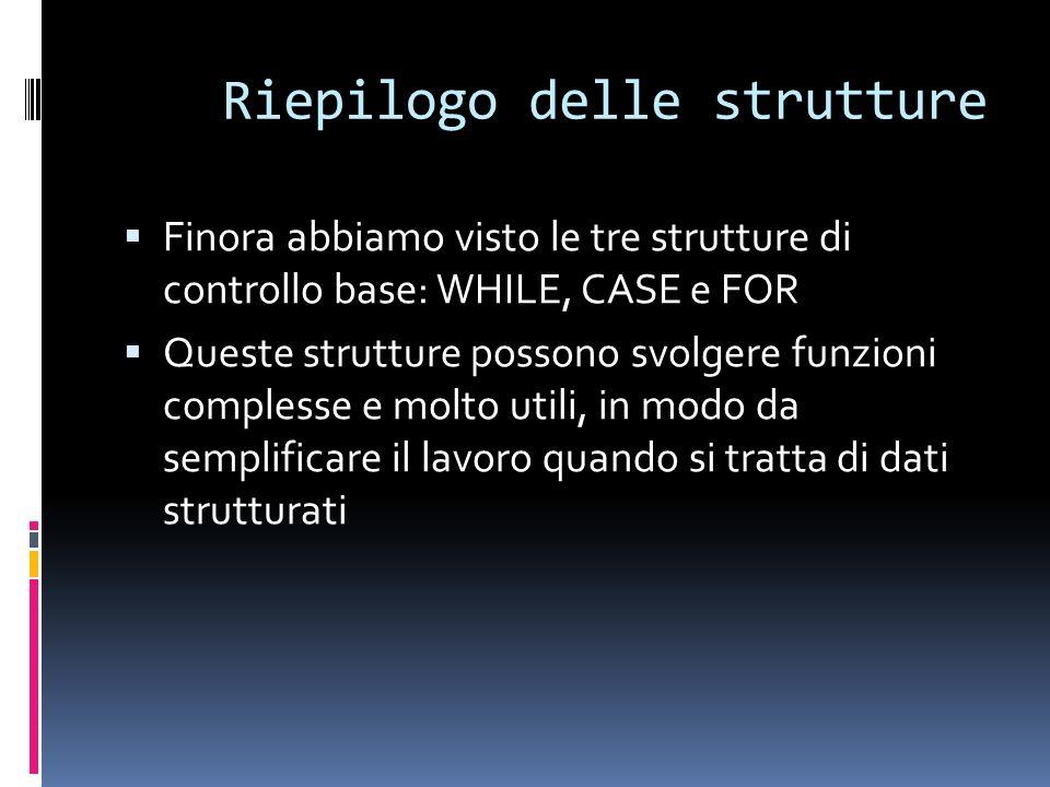Riepilogo delle strutture