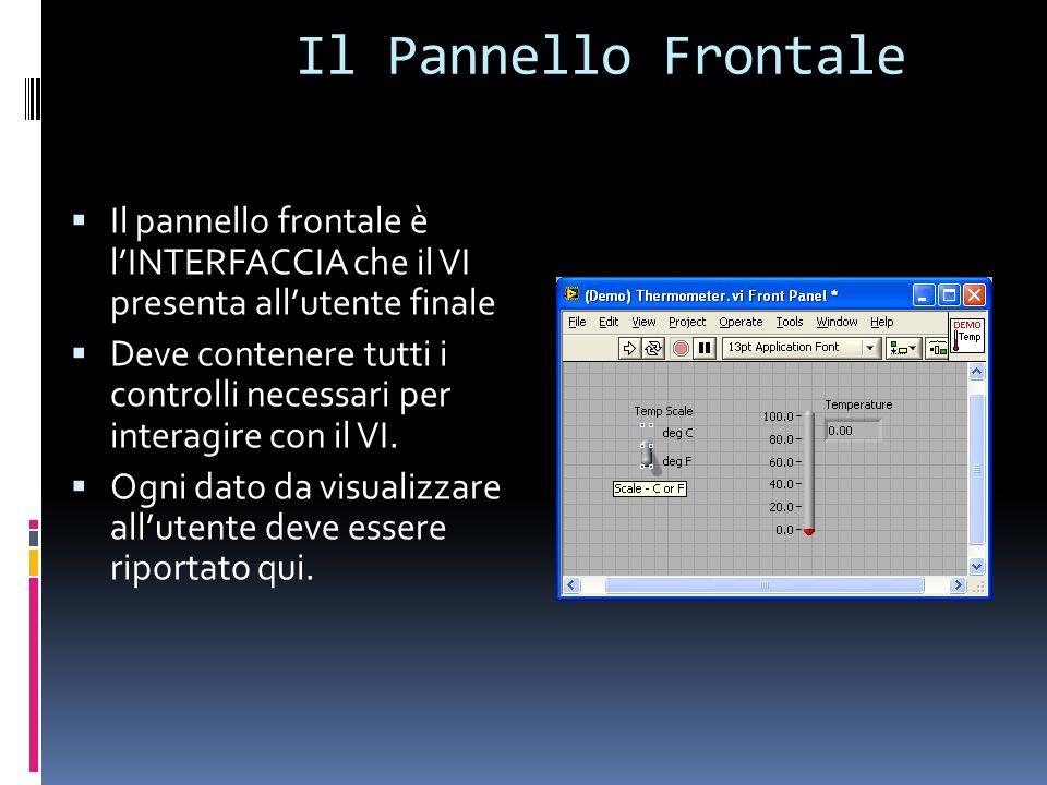 Il Pannello Frontale Il pannello frontale è l'INTERFACCIA che il VI presenta all'utente finale.