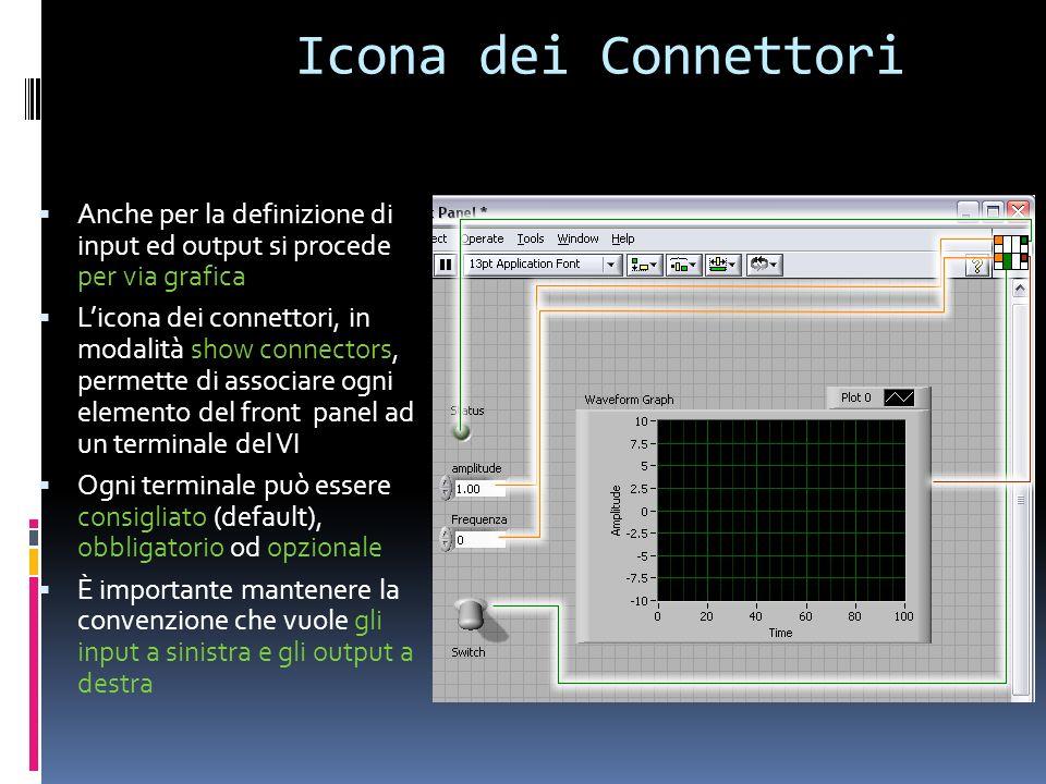 Icona dei Connettori Anche per la definizione di input ed output si procede per via grafica.