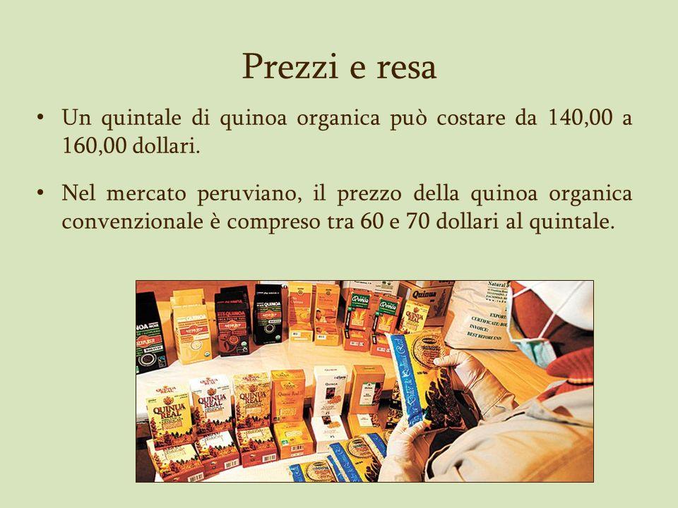 Prezzi e resa Un quintale di quinoa organica può costare da 140,00 a 160,00 dollari.