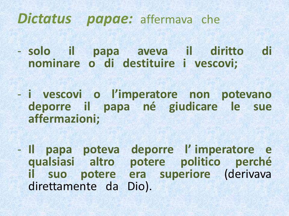 Dictatus papae: affermava che