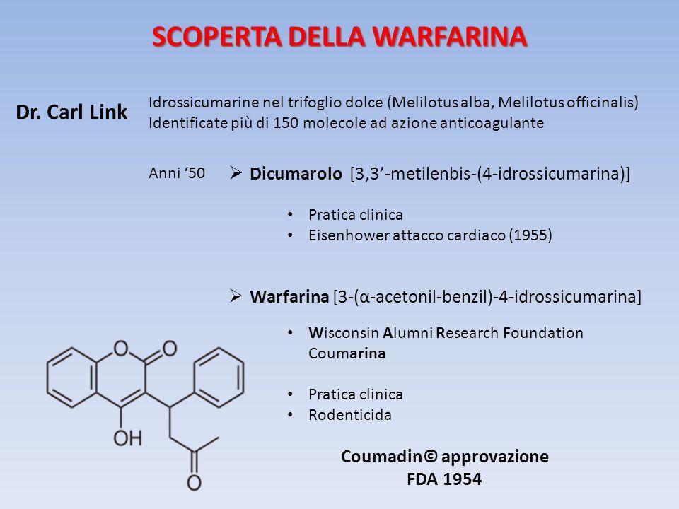 SCOPERTA DELLA WARFARINA Coumadin© approvazione FDA 1954