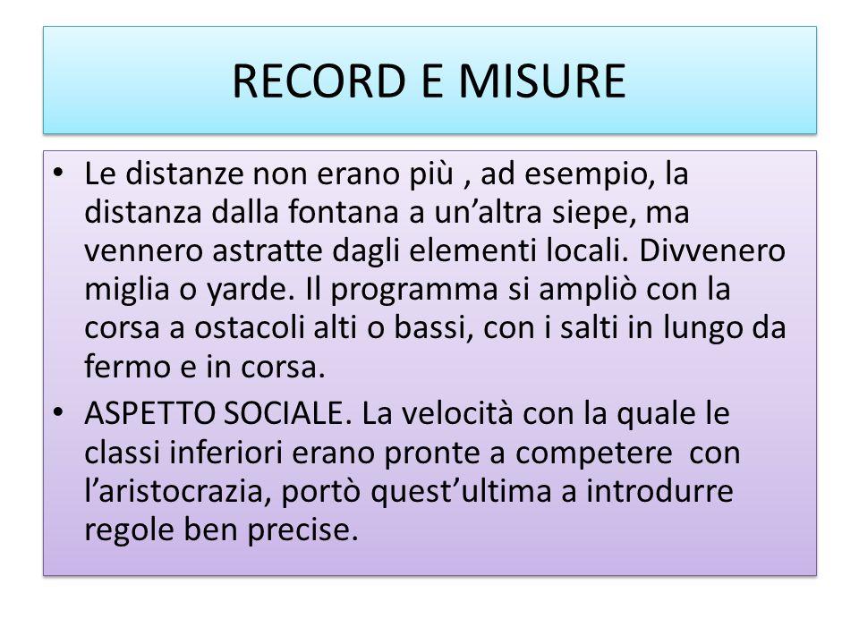 RECORD E MISURE