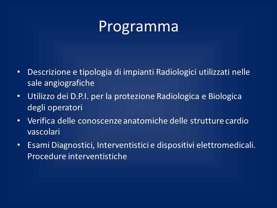 Programma Descrizione e tipologia di impianti Radiologici utilizzati nelle sale angiografiche.