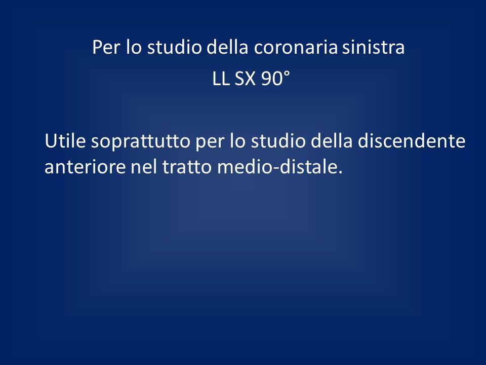 Per lo studio della coronaria sinistra LL SX 90° Utile soprattutto per lo studio della discendente anteriore nel tratto medio-distale.