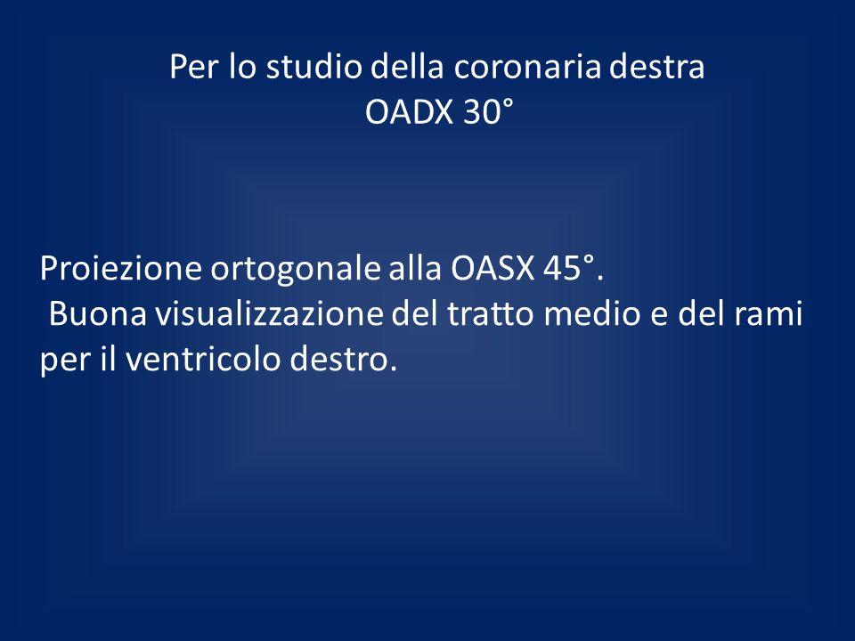 Per lo studio della coronaria destra OADX 30°