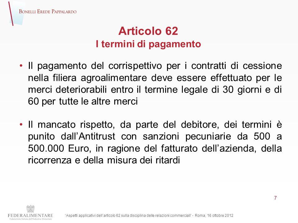 Articolo 62 I termini di pagamento