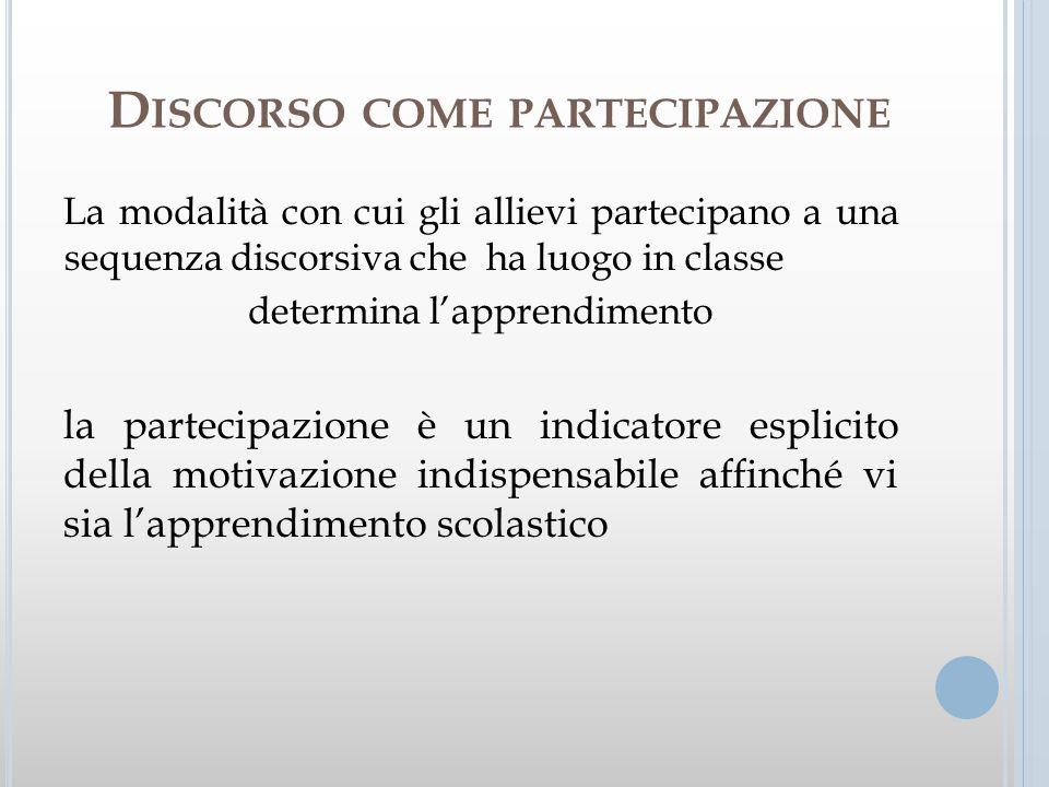 Discorso come partecipazione