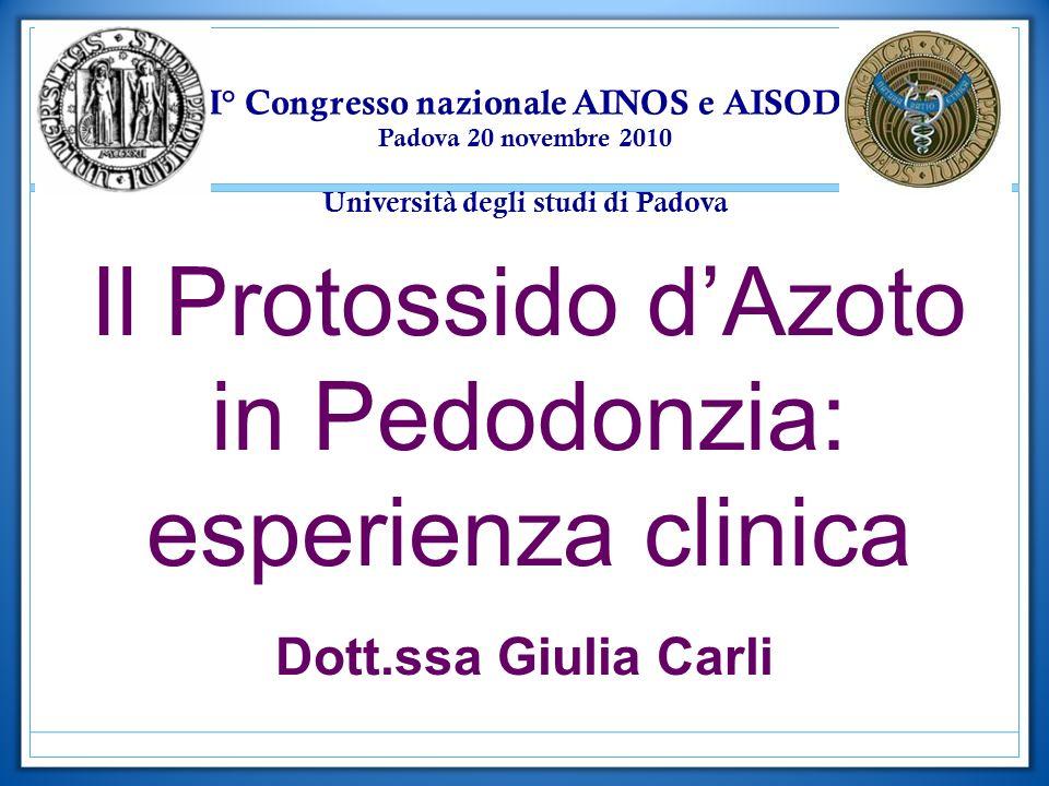 Il Protossido d'Azoto in Pedodonzia: esperienza clinica