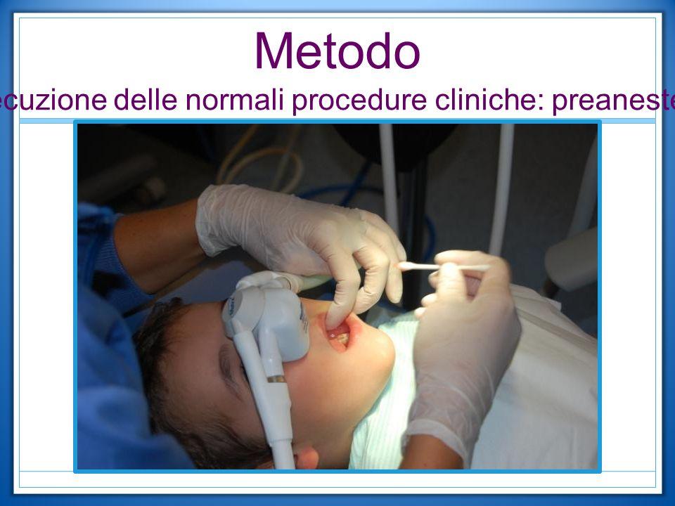 Esecuzione delle normali procedure cliniche: preanestesia