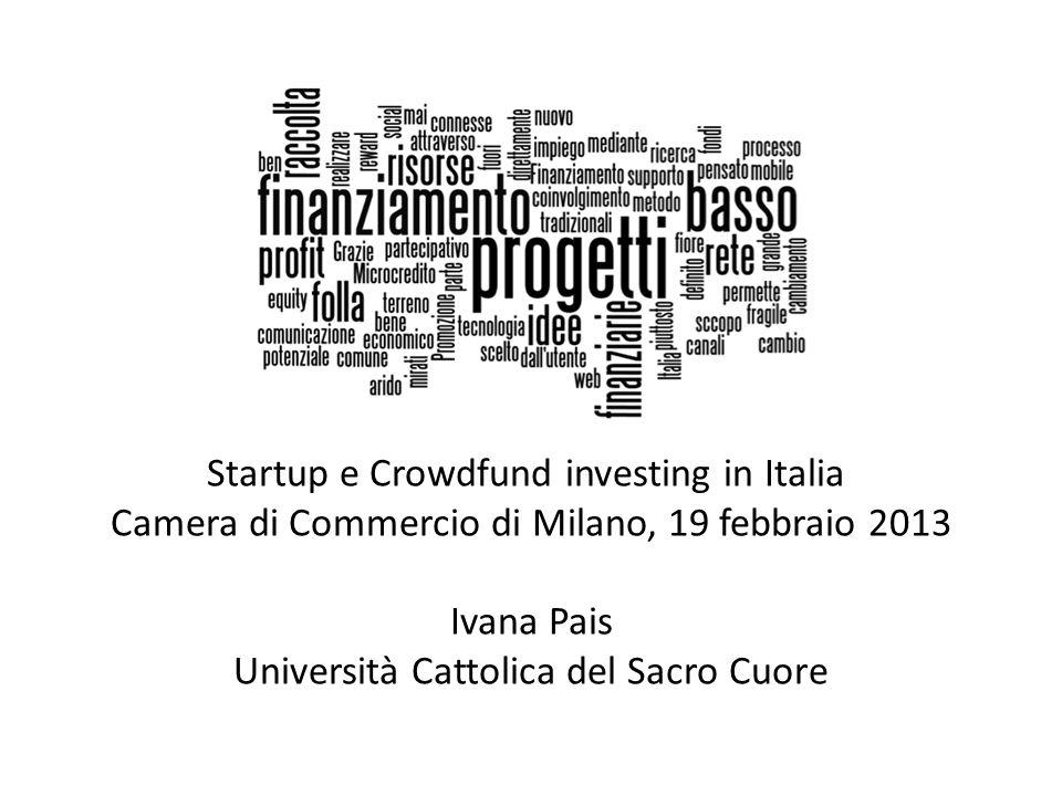 Startup e Crowdfund investing in Italia Camera di Commercio di Milano, 19 febbraio 2013 Ivana Pais Università Cattolica del Sacro Cuore