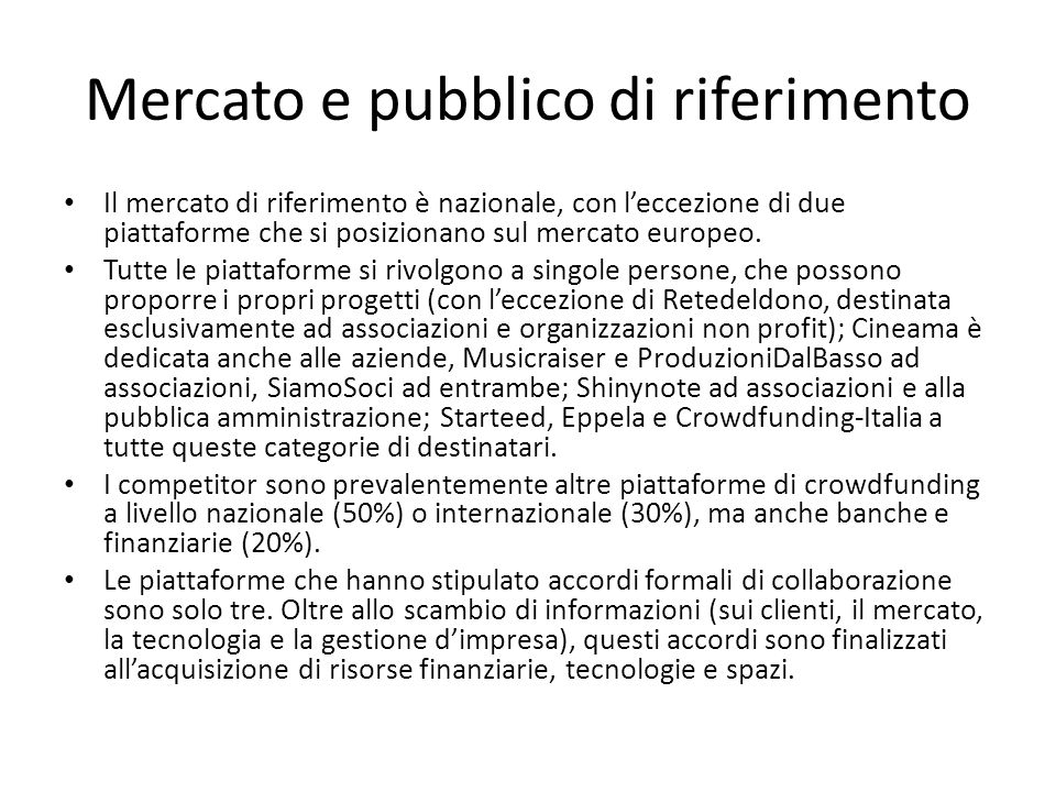 Mercato e pubblico di riferimento