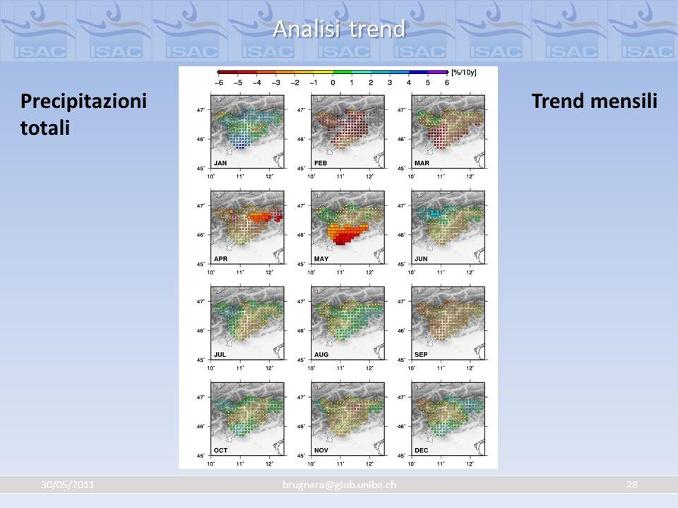 Analisi trend Precipitazioni totali Trend mensili 30/05/2011