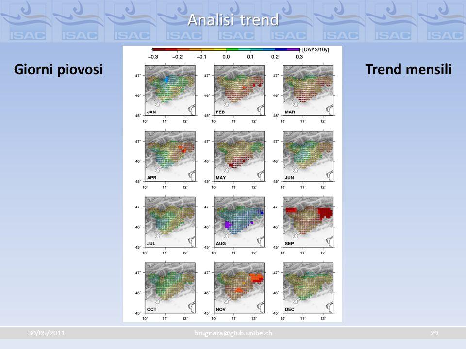 Analisi trend Giorni piovosi Trend mensili 30/05/2011