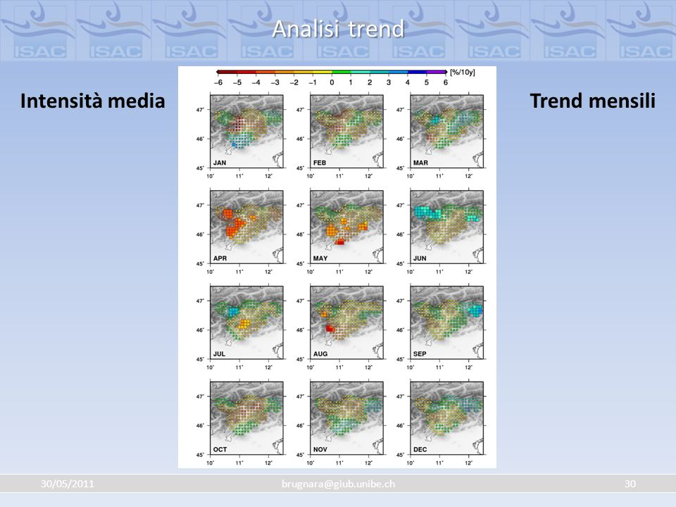 Analisi trend Intensità media Trend mensili 30/05/2011