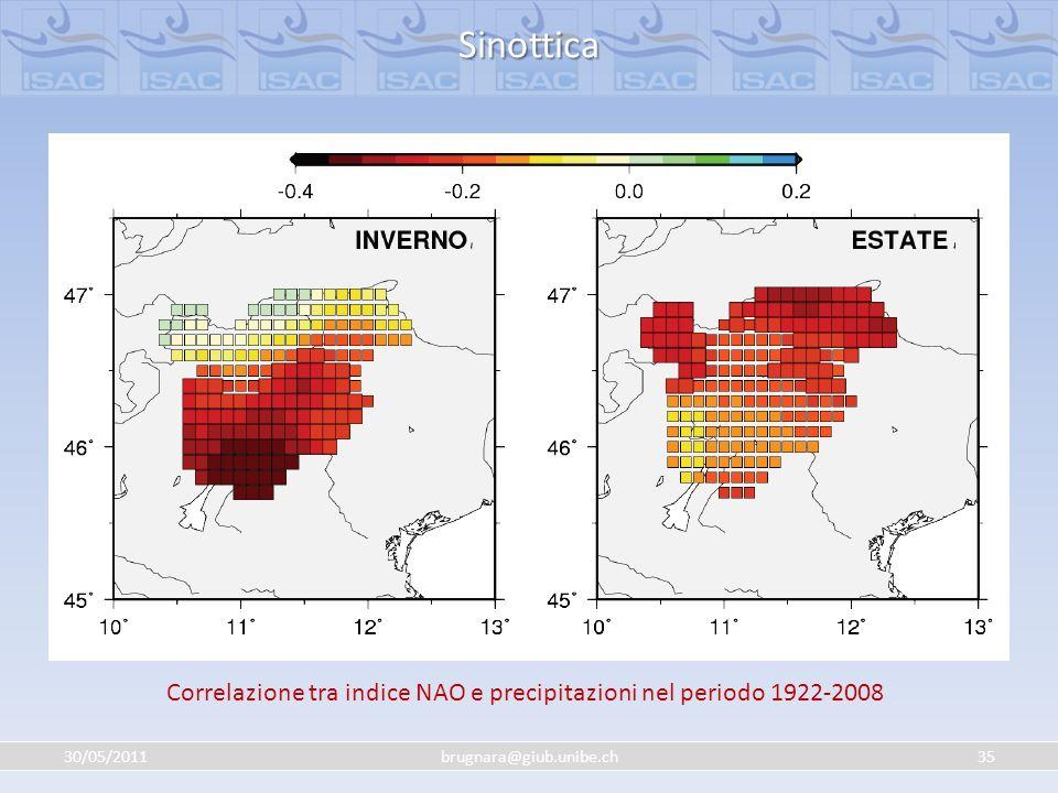 Correlazione tra indice NAO e precipitazioni nel periodo 1922-2008