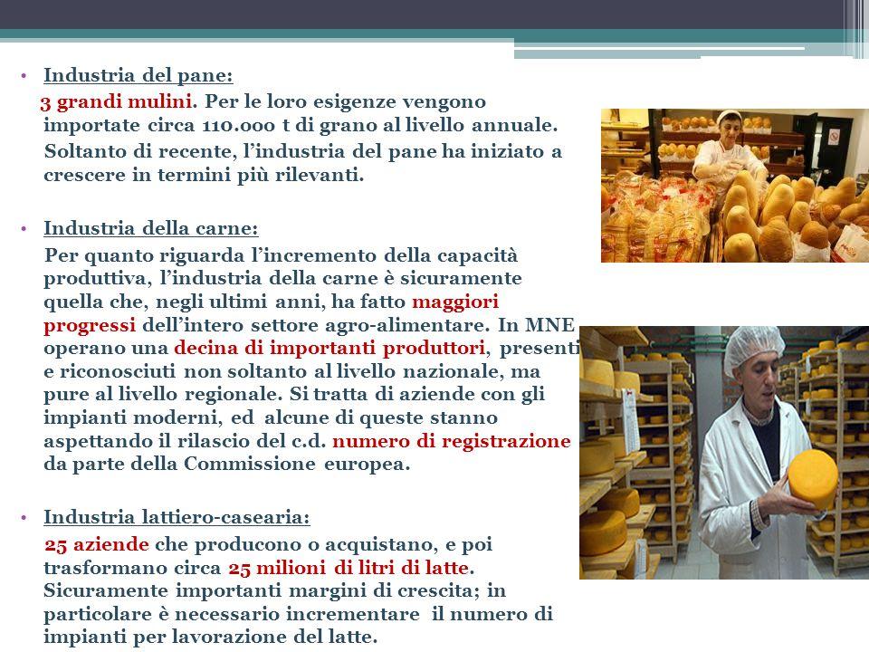 Industria del pane: 3 grandi mulini. Per le loro esigenze vengono importate circa 110.ooo t di grano al livello annuale.
