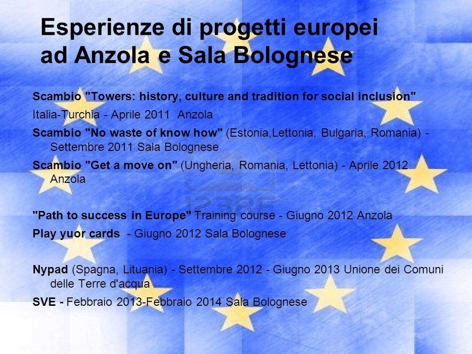 Esperienze di progetti europei ad Anzola e Sala Bolognese