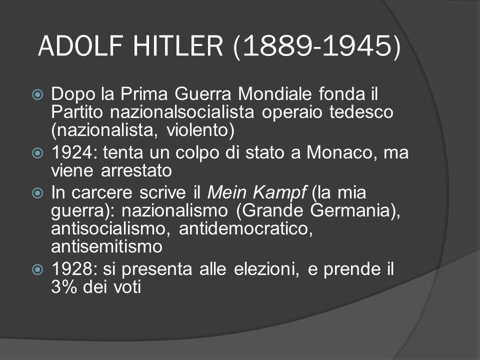 ADOLF HITLER (1889-1945) Dopo la Prima Guerra Mondiale fonda il Partito nazionalsocialista operaio tedesco (nazionalista, violento)