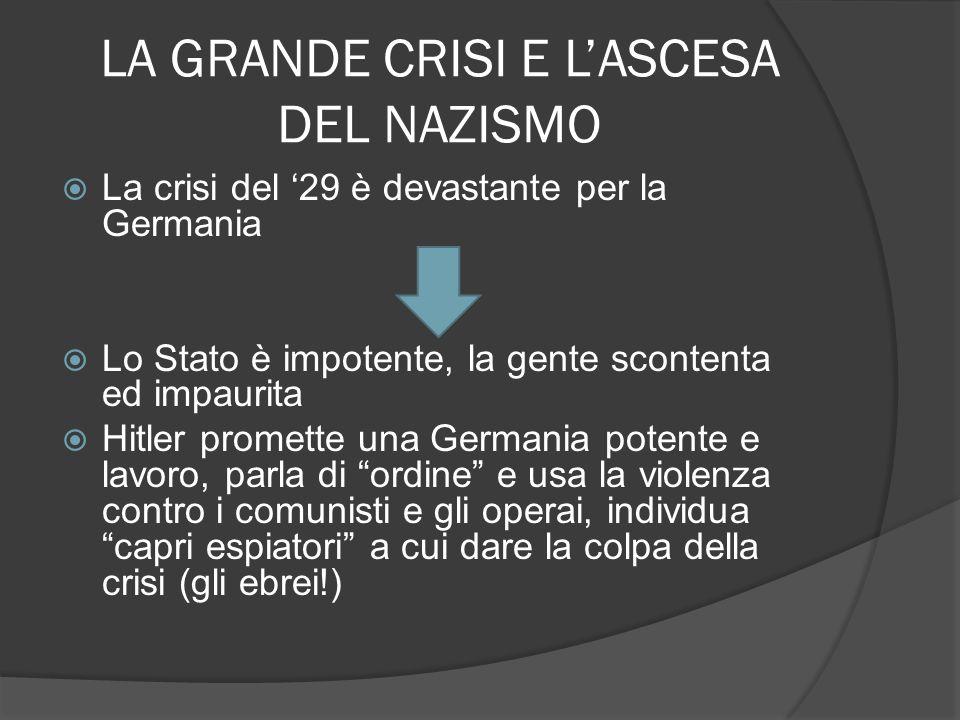 LA GRANDE CRISI E L'ASCESA DEL NAZISMO
