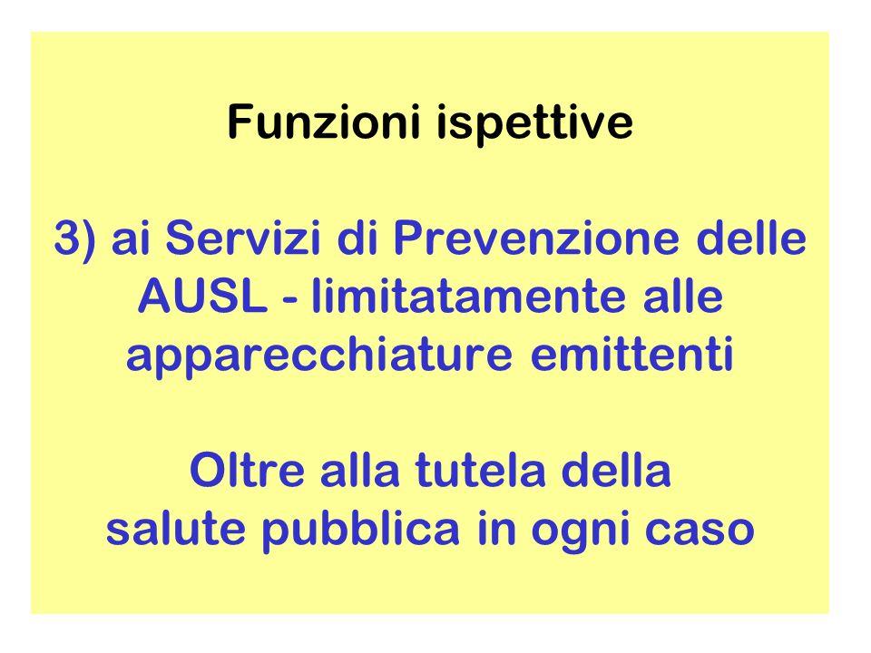 Funzioni ispettive 3) ai Servizi di Prevenzione delle AUSL - limitatamente alle apparecchiature emittenti Oltre alla tutela della salute pubblica in ogni caso