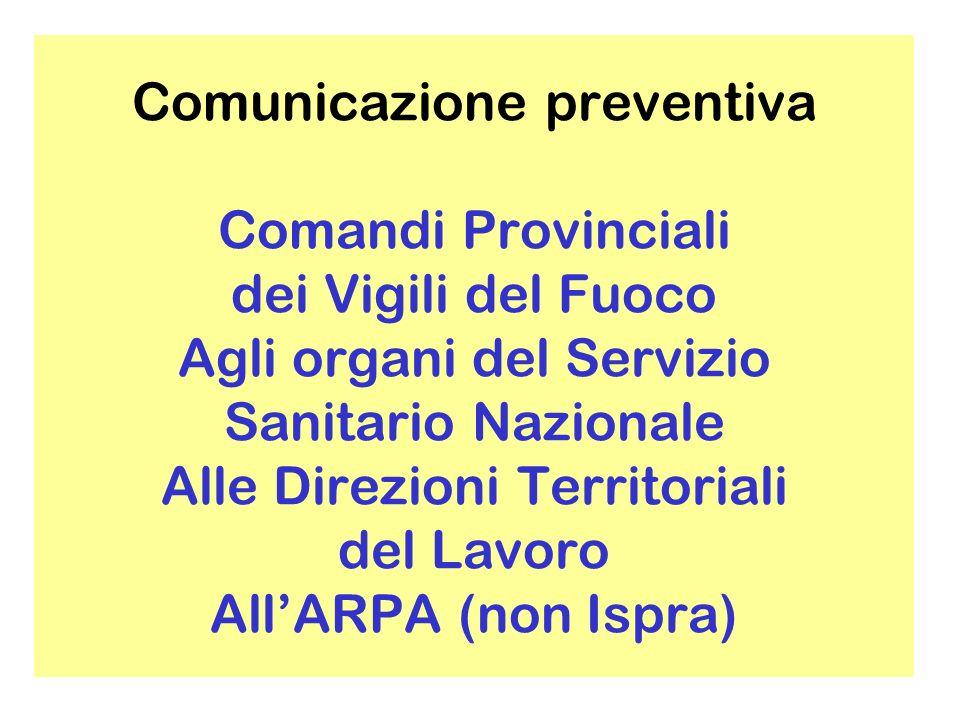 Comunicazione preventiva Comandi Provinciali dei Vigili del Fuoco Agli organi del Servizio Sanitario Nazionale Alle Direzioni Territoriali del Lavoro All'ARPA (non Ispra)