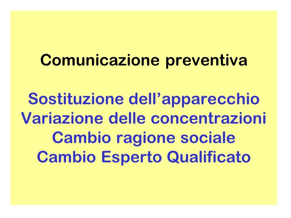 Comunicazione preventiva Sostituzione dell'apparecchio Variazione delle concentrazioni Cambio ragione sociale Cambio Esperto Qualificato