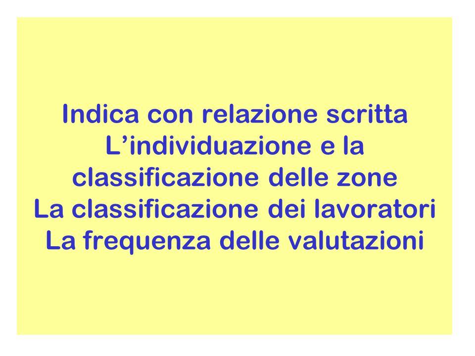 Indica con relazione scritta L'individuazione e la classificazione delle zone La classificazione dei lavoratori La frequenza delle valutazioni