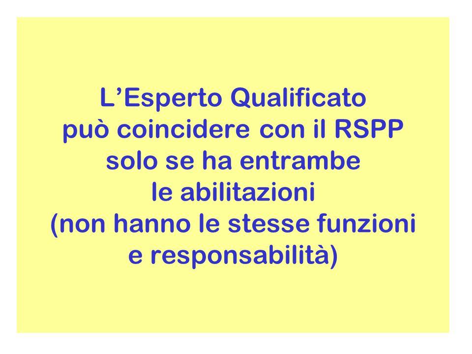 L'Esperto Qualificato può coincidere con il RSPP solo se ha entrambe le abilitazioni (non hanno le stesse funzioni e responsabilità)